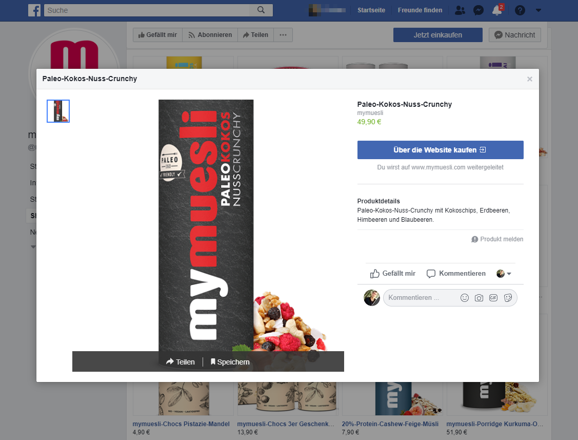 Screenshot mymuesli Facebook-Shop