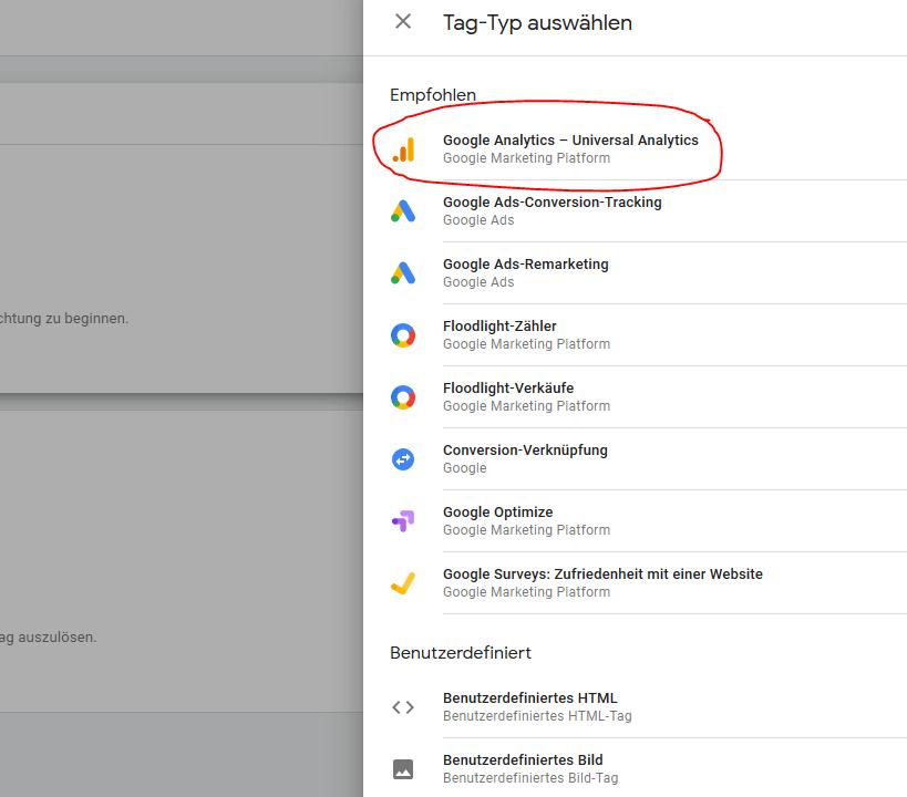 Screenshot Einrichtung Tag Manager in Google Analytics
