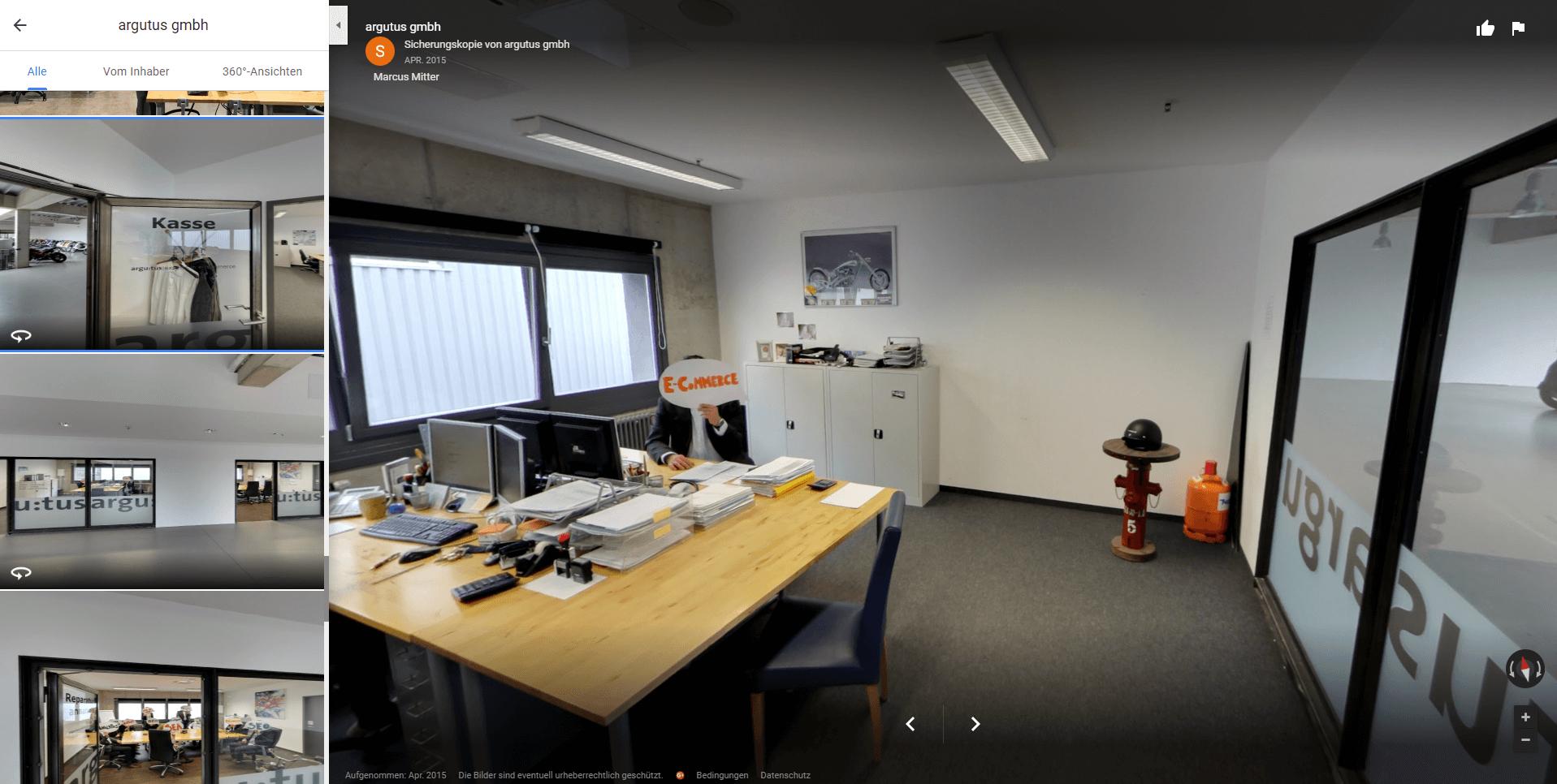 Screenshot 360-Grad Foto von argutus Büro