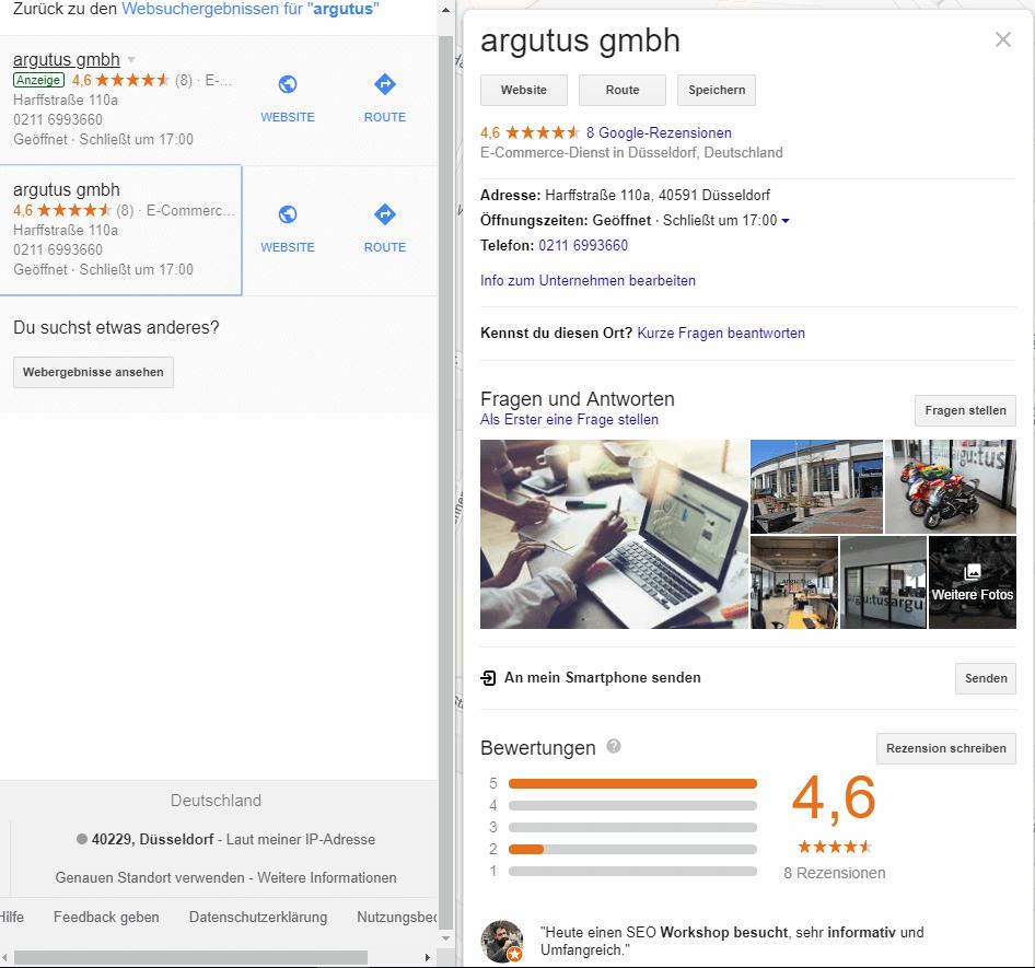 Screenshot Google My Business Eintrag von argutus