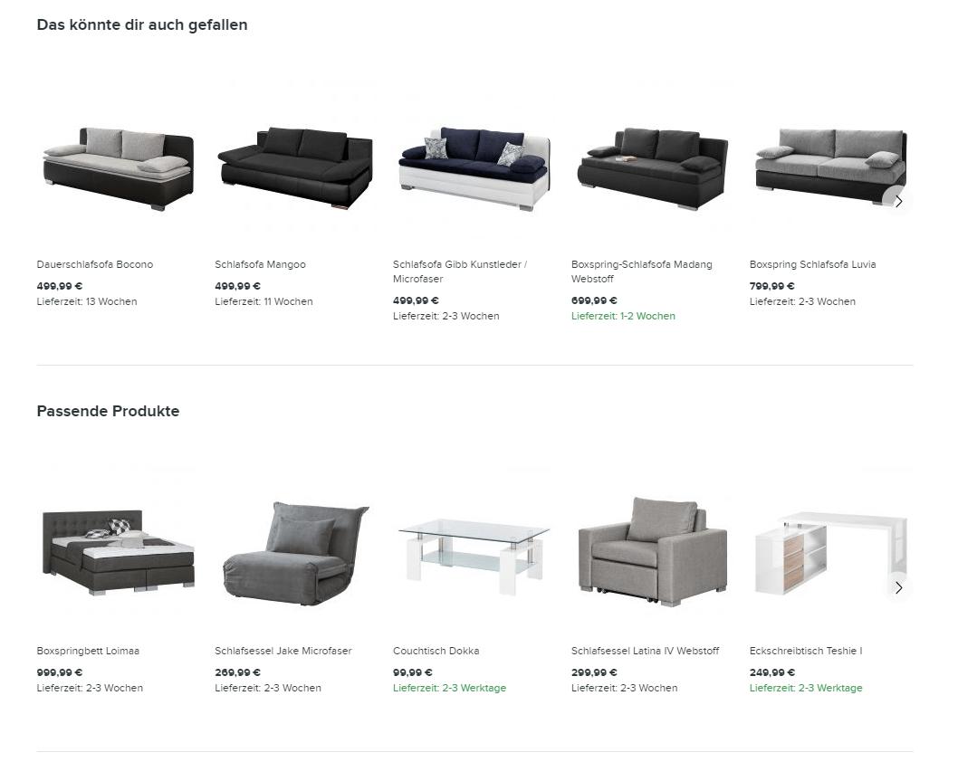 Beispiel für Produktempfehlungen im Shop (Quelle: home24)