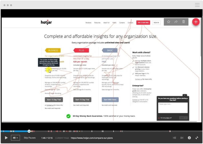 Aufzeichnung von User Session über Hotjar