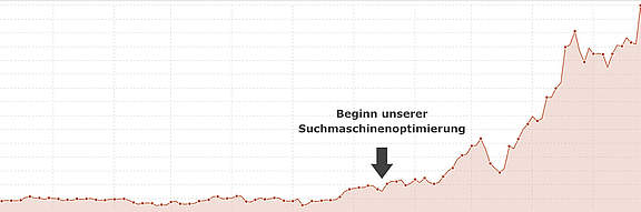 Beispiel Graph Ranking Website nach SEO